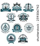 marine emblems and banners with ... | Shutterstock .eps vector #259306742