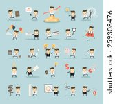 set of businessman activities... | Shutterstock .eps vector #259308476