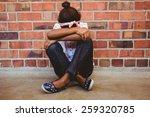 full length of tensed girl... | Shutterstock . vector #259320785