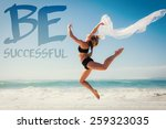 fit blonde jumping gracefully... | Shutterstock . vector #259323035