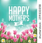 happy mothers day tulips design ... | Shutterstock .eps vector #259333358