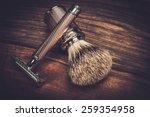 safety razor and shaving brush... | Shutterstock . vector #259354958
