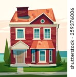 english house facade. vector... | Shutterstock .eps vector #259376006