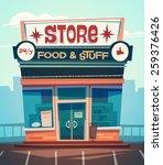 grocery store facade. vector...   Shutterstock .eps vector #259376426