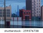 rainy cityscape. vector...   Shutterstock .eps vector #259376738