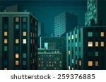 night cityscape. vector... | Shutterstock .eps vector #259376885