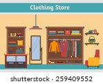 clothing store. man and woman...   Shutterstock .eps vector #259409552