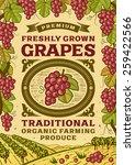 retro grapes poster | Shutterstock . vector #259422566