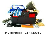 working tools in box . many... | Shutterstock . vector #259423952