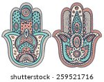 Vector Indian Hand Drawn Hamsa...