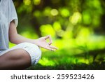 yoga in the park | Shutterstock . vector #259523426