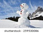 snowman in the swiss alps | Shutterstock . vector #259530086