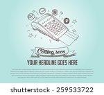 credit card machine doodle...   Shutterstock .eps vector #259533722