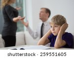 sad little boy and family fight ... | Shutterstock . vector #259551605