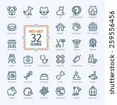 Stock vector outline web icon set pet vet pet shop types of pets 259556456