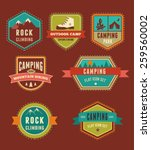 hiking and camp badges   set of ... | Shutterstock .eps vector #259560002