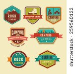 hiking and camp badges   set of ... | Shutterstock .eps vector #259560122