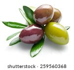 Small photo of Olives with olive leaves on a white background.