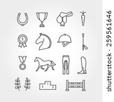 Stock vector horse equipment icon set line 259561646