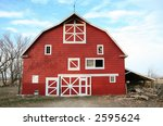 Big Bright Red Barn With White...
