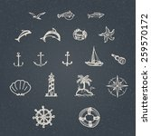 set of hand drawn vintage... | Shutterstock .eps vector #259570172