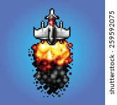 8 bit pixel art space ship... | Shutterstock .eps vector #259592075