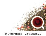 Stock photo cup of tea on background dry rosebuds view from above 259600622