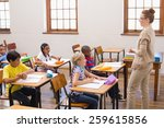teacher giving a lesson in... | Shutterstock . vector #259615856