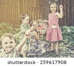 excited children hold up easter ...   Shutterstock . vector #259617908