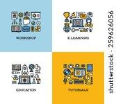 flat line icons set of workshop ... | Shutterstock .eps vector #259626056