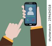receiving phone call  | Shutterstock .eps vector #259634318