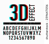 3d effect alphabet and numbers. ...   Shutterstock .eps vector #259647056