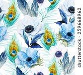 pattern  watercolor  flowers ... | Shutterstock . vector #259668962