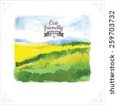 Organic Farms. Watercolor...