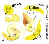 fresh organic food. set of... | Shutterstock .eps vector #259703738