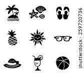 summer icon set and signs  ... | Shutterstock .eps vector #259720736