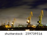 Many Port Crane In Wintertime...