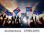 group of people waving flag of... | Shutterstock . vector #259812092