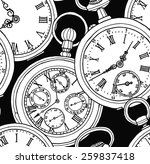 Stock vector seamless pattern vintage watch black white 259837418