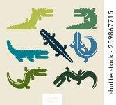 silhouettes alligators | Shutterstock .eps vector #259867715