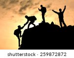 climbing team success | Shutterstock . vector #259872872