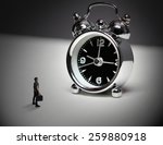 alarm clock and small man | Shutterstock . vector #259880918