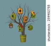 Birdhouses On A Tree. Hand...