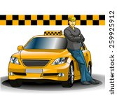 taxi and the taxi driver | Shutterstock .eps vector #259925912