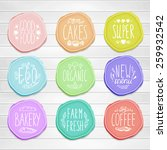 set of retro badges on a wood... | Shutterstock .eps vector #259932542