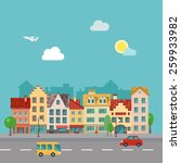 illustration of a town street ... | Shutterstock .eps vector #259933982
