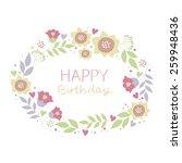 happy birthday flowers card...   Shutterstock .eps vector #259948436