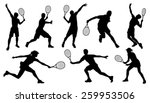 Tennis Silhouettes On The Whit...
