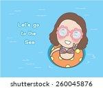 Cartoon Cute Girl Floating Wit...