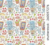 seamless tea and sweets pattern. | Shutterstock . vector #260057276